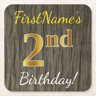 Faux Wood, Faux Gold 2nd Birthday + Custom Name Square Paper Coaster