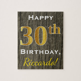 Faux Wood, Faux Gold 30th Birthday + Custom Name Jigsaw Puzzle