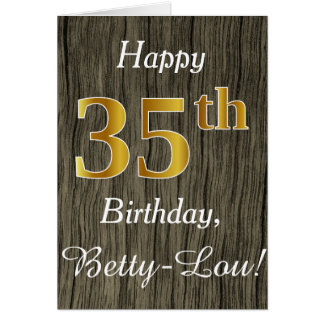 Faux Wood, Faux Gold 35th Birthday + Custom Name Card