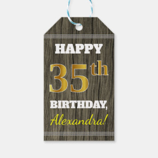 Faux Wood, Faux Gold 35th Birthday + Custom Name Gift Tags