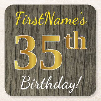 Faux Wood, Faux Gold 35th Birthday + Custom Name Square Paper Coaster