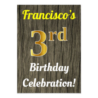 Faux Wood, Faux Gold 3rd Birthday Celebration Card