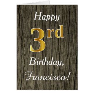 Faux Wood, Faux Gold 3rd Birthday + Custom Name Card