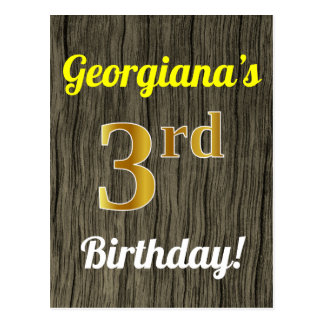 Faux Wood, Faux Gold 3rd Birthday & Custom Name Postcard