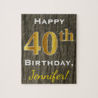 Faux Wood, Faux Gold 40th Birthday + Custom Name Jigsaw Puzzle