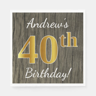 Faux Wood, Faux Gold 40th Birthday + Custom Name Paper Napkin