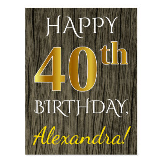 Faux Wood, Faux Gold 40th Birthday + Custom Name Postcard