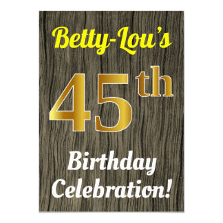 Faux Wood, Faux Gold 45th Birthday Celebration Card