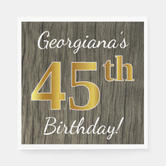 Faux Wood, Faux Gold 45th Birthday + Custom Name Paper Napkin