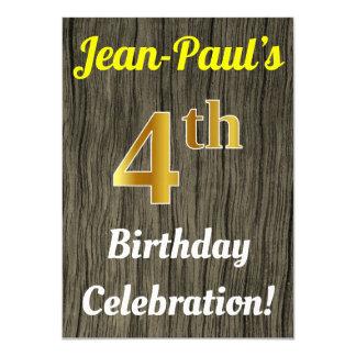 Faux Wood, Faux Gold 4th Birthday Celebration Card