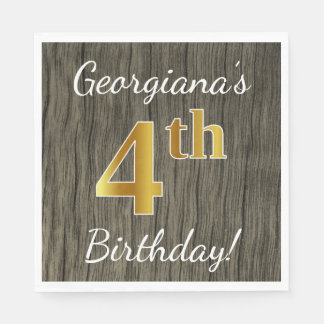 Faux Wood, Faux Gold 4th Birthday + Custom Name Disposable Napkins