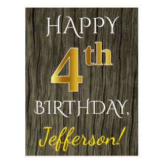 Faux Wood, Faux Gold 4th Birthday + Custom Name Postcard
