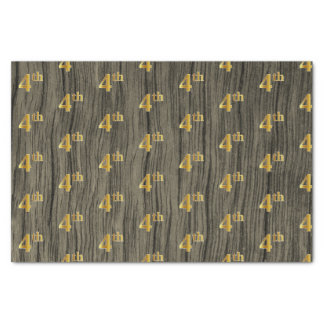 Faux Wood, Faux Gold 4th (Fourth) Event Tissue Paper