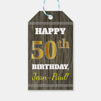 Faux Wood, Faux Gold 50th Birthday + Custom Name Gift Tags