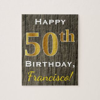 Faux Wood, Faux Gold 50th Birthday + Custom Name Jigsaw Puzzle