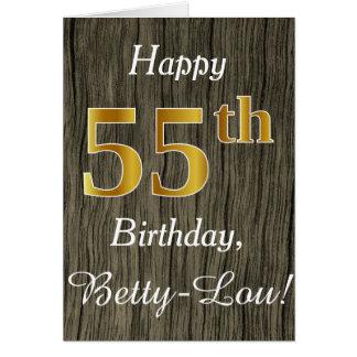 Faux Wood, Faux Gold 55th Birthday + Custom Name Card