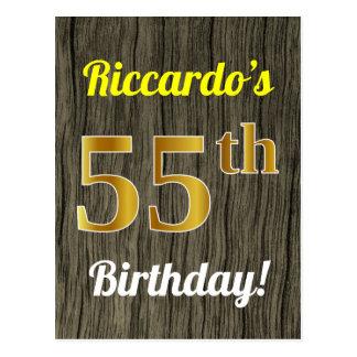 Faux Wood, Faux Gold 55th Birthday & Custom Name Postcard