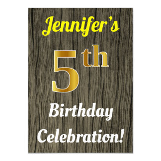 Faux Wood, Faux Gold 5th Birthday Celebration Card