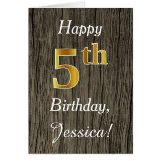 Faux Wood, Faux Gold 5th Birthday + Custom Name Card