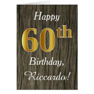 Faux Wood, Faux Gold 60th Birthday + Custom Name Card