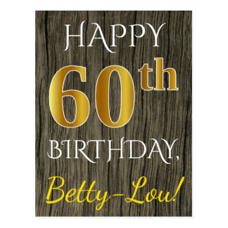 Faux Wood, Faux Gold 60th Birthday + Custom Name Postcard