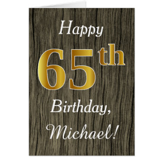 Faux Wood, Faux Gold 65th Birthday + Custom Name Card