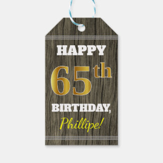 Faux Wood, Faux Gold 65th Birthday + Custom Name Gift Tags