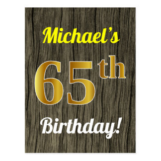 Faux Wood, Faux Gold 65th Birthday & Custom Name Postcard
