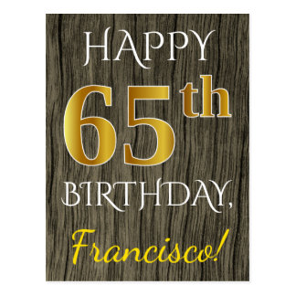 Faux Wood, Faux Gold 65th Birthday + Custom Name Postcard