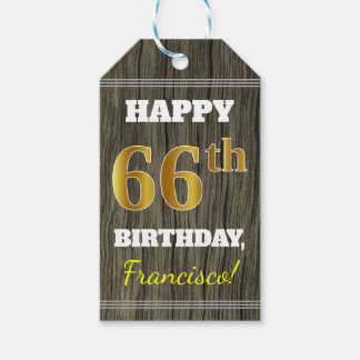 Faux Wood, Faux Gold 66th Birthday + Custom Name Gift Tags