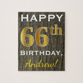 Faux Wood, Faux Gold 66th Birthday + Custom Name Jigsaw Puzzle