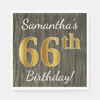 Faux Wood, Faux Gold 66th Birthday + Custom Name Paper Napkin