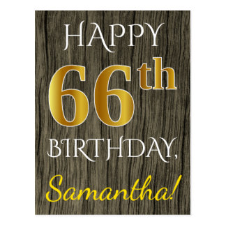 Faux Wood, Faux Gold 66th Birthday + Custom Name Postcard