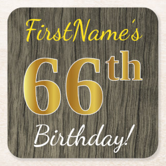 Faux Wood, Faux Gold 66th Birthday + Custom Name Square Paper Coaster