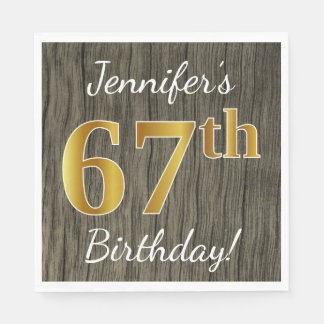 Faux Wood, Faux Gold 67th Birthday + Custom Name Disposable Napkin