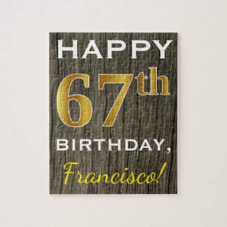 Faux Wood, Faux Gold 67th Birthday + Custom Name Jigsaw Puzzle