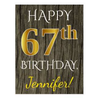 Faux Wood, Faux Gold 67th Birthday + Custom Name Postcard