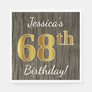 Faux Wood, Faux Gold 68th Birthday + Custom Name Disposable Napkin