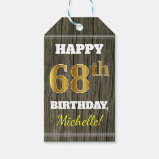 Faux Wood, Faux Gold 68th Birthday + Custom Name Gift Tags