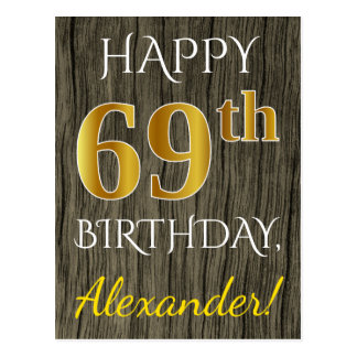 Faux Wood, Faux Gold 69th Birthday + Custom Name Postcard
