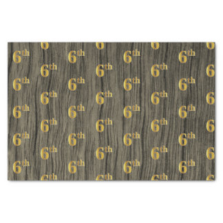 Faux Wood, Faux Gold 6th (Sixth) Event Tissue Paper