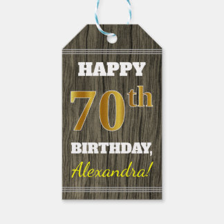 Faux Wood, Faux Gold 70th Birthday + Custom Name Gift Tags
