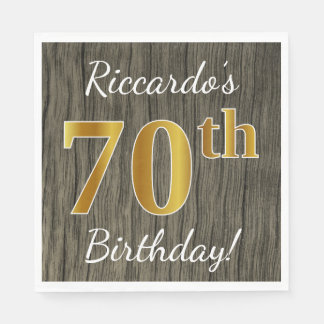 Faux Wood, Faux Gold 70th Birthday + Custom Name Paper Napkin