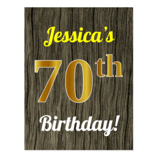 Faux Wood, Faux Gold 70th Birthday & Custom Name Postcard