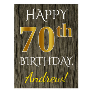 Faux Wood, Faux Gold 70th Birthday + Custom Name Postcard