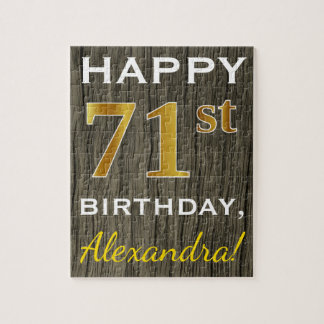 Faux Wood, Faux Gold 71st Birthday + Custom Name Jigsaw Puzzle
