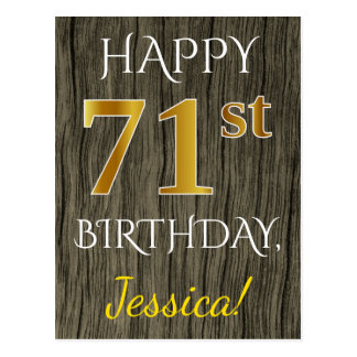 Faux Wood, Faux Gold 71st Birthday + Custom Name Postcard