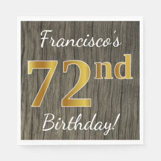 Faux Wood, Faux Gold 72nd Birthday + Custom Name Disposable Napkin
