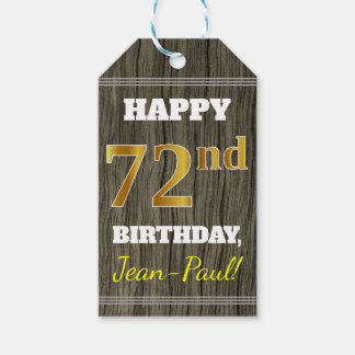 Faux Wood, Faux Gold 72nd Birthday + Custom Name Gift Tags