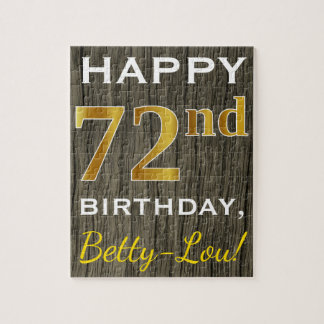 Faux Wood, Faux Gold 72nd Birthday + Custom Name Jigsaw Puzzle